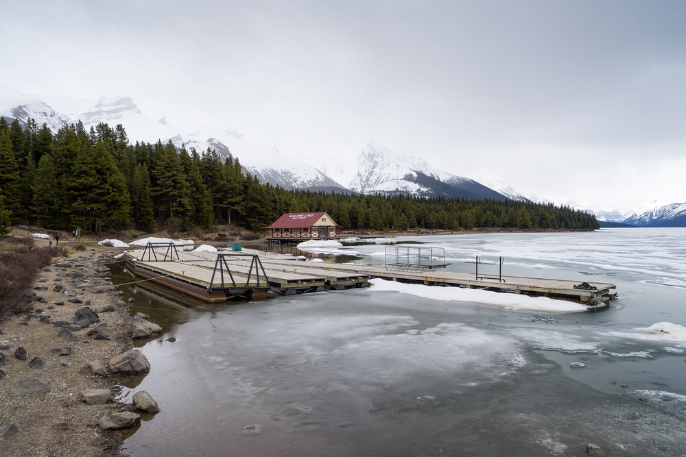 A semi-frozen Maligne Lake, AB.