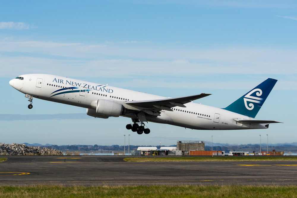 Air New Zealand Boeing 777-200ER ZK-OKH departing Auckland. August 2017