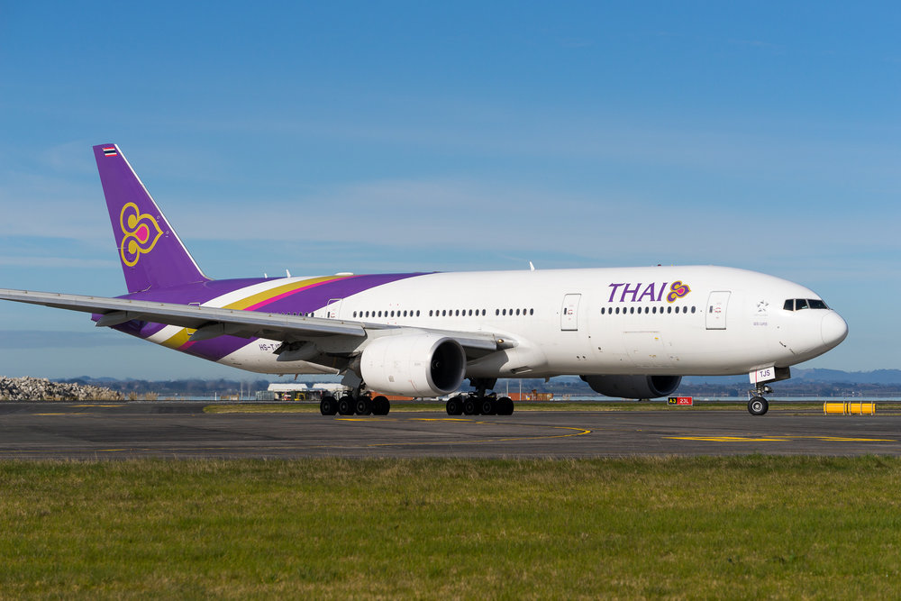 Thai Airways Boeing 777-200ER HS-TJS arriving in Auckland. August 2017