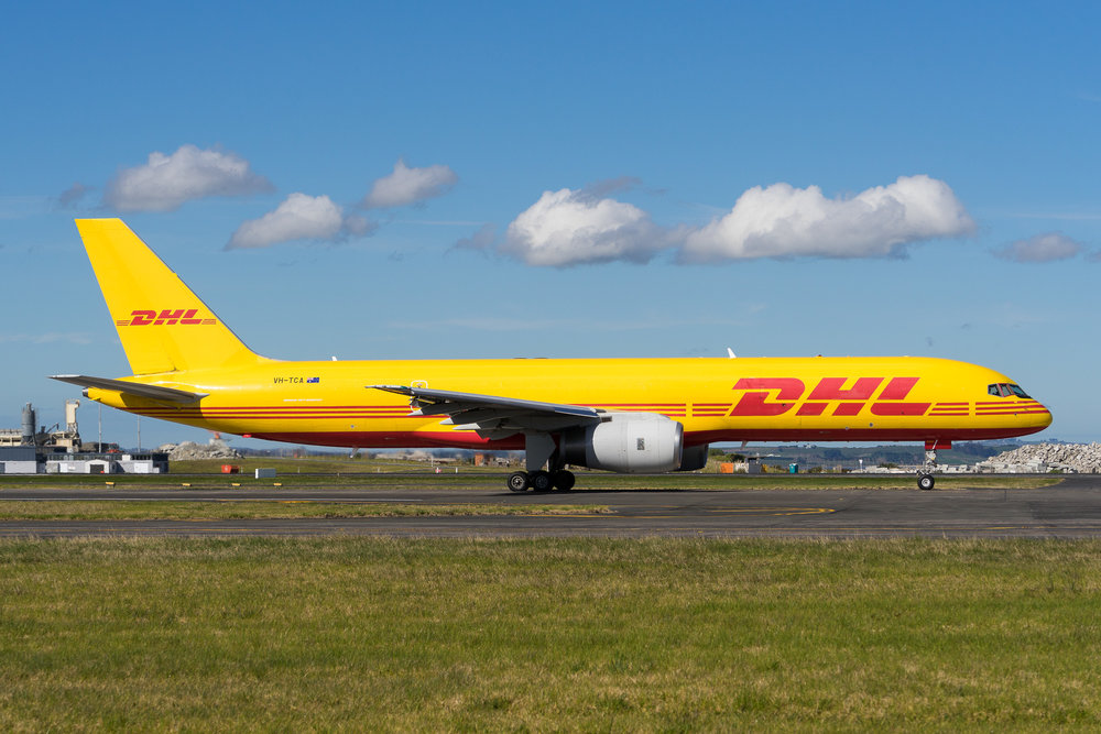 DHL Boeing 757-200 VH-TCA departing Auckland. August 2017