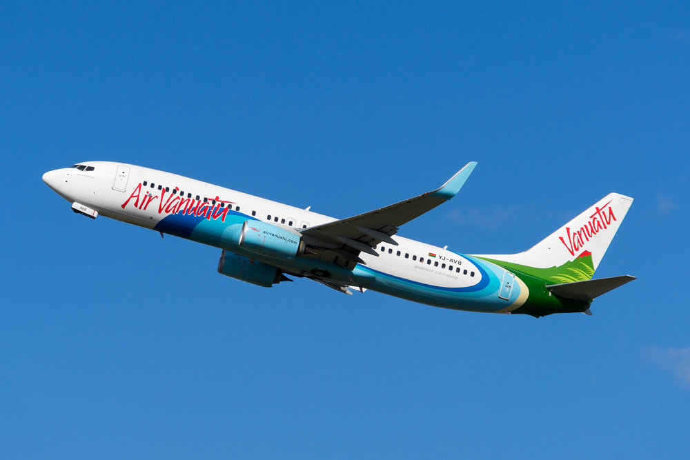 Air Vanuatu Boeing 737-800 YJ-AV8 departing Auckland. August 2017