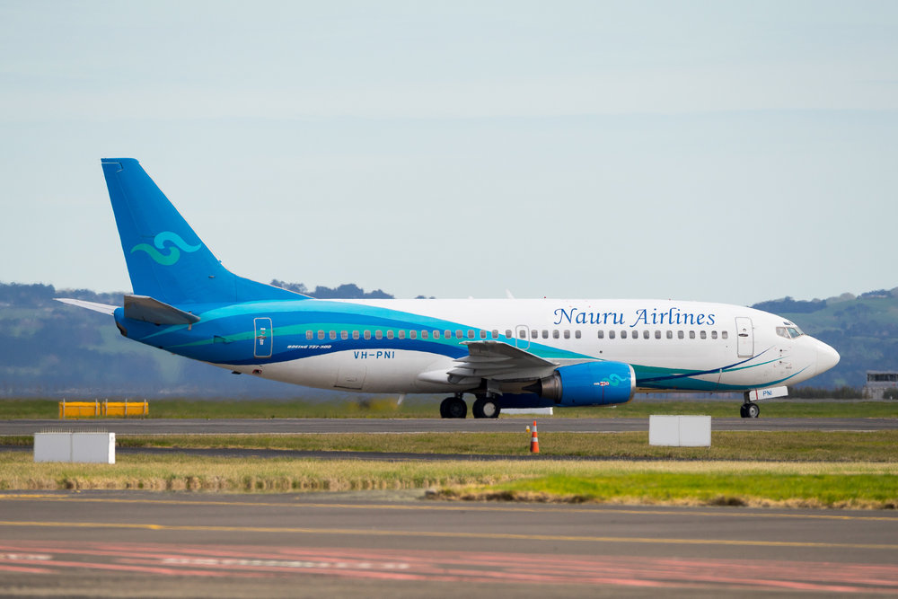 Nauru Airlines Boeing 737-300 VH-PNI arriving in Auckland. August 2017