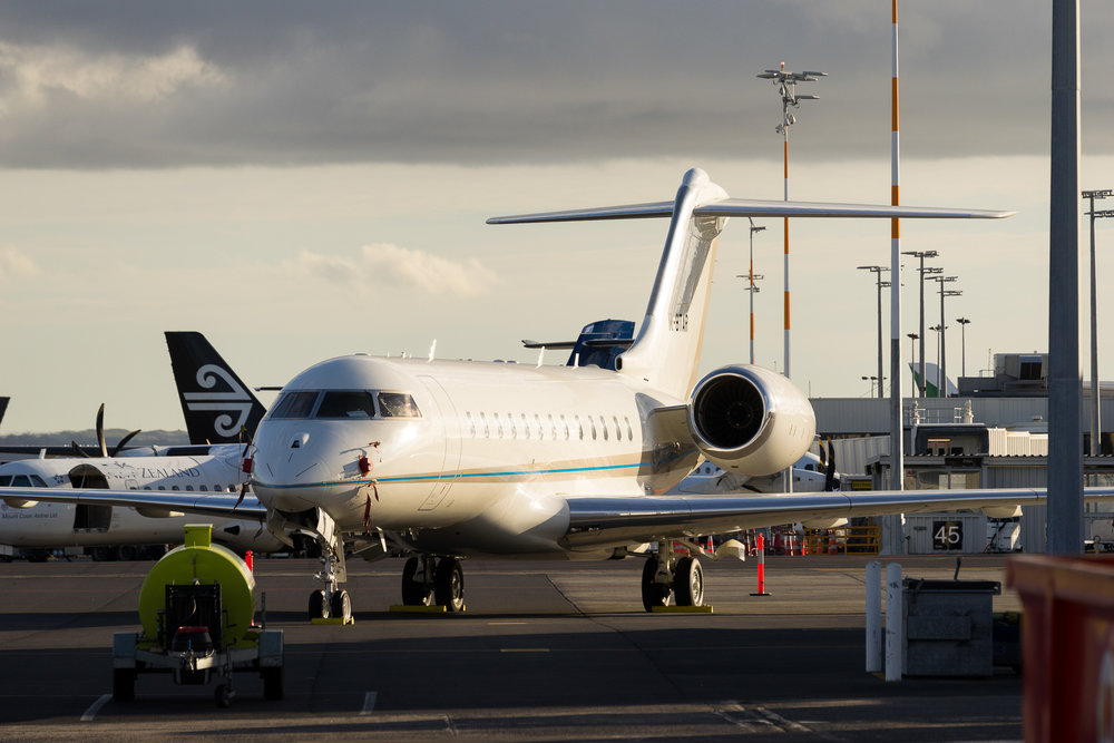 Bombardier Global Express M-BTAR in Auckland. August 2017