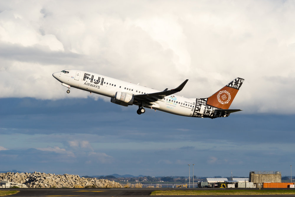 Fiji Airways Boeing 737-800 DQ-FJG departing Auckland. August 2017