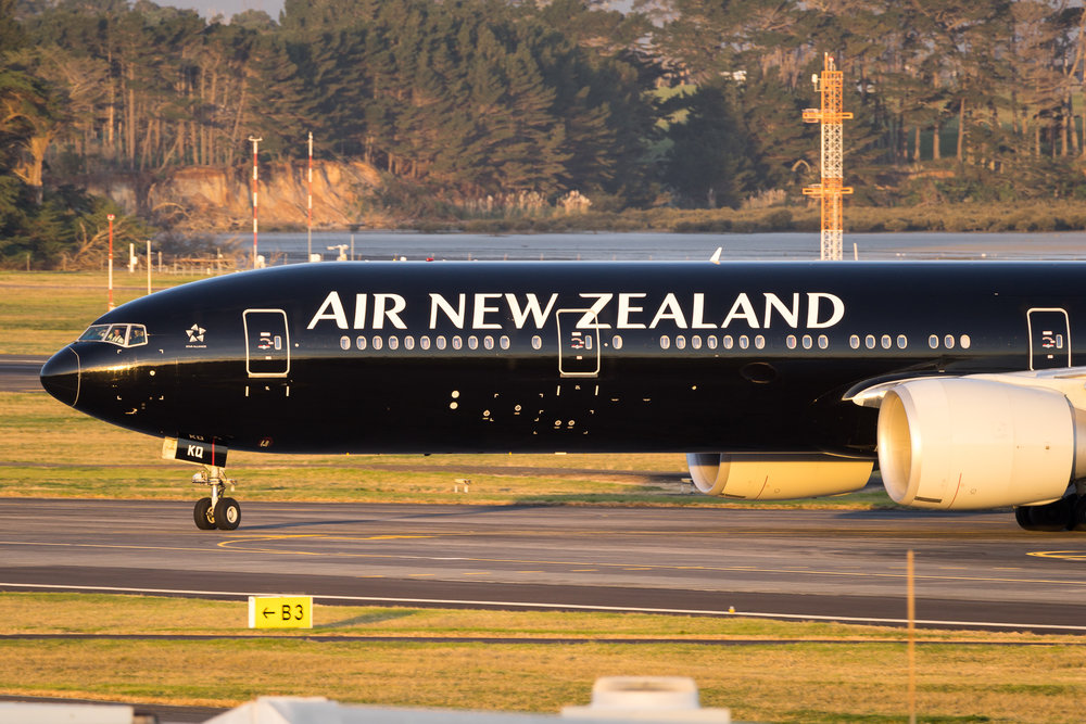 Air New Zealand Boeing 777-300ER ZK-OKQ vacating on A3 from runway 05R. Flight NZ136 from Brisbane. 5 August 2017