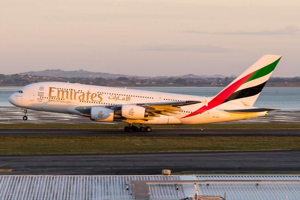 Emirates Airbus A380 A6-EDB departing Auckland. August 2017