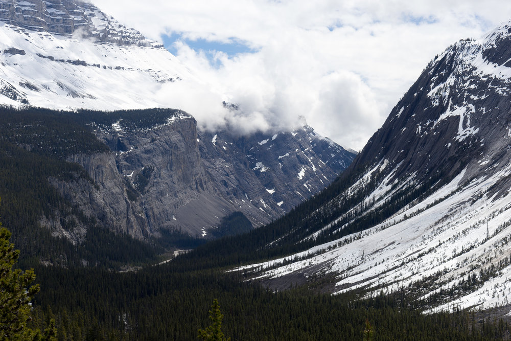 Enourmous mountains, with the Icefields Parkway winding between them.