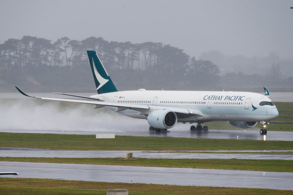 Cathay Pacific Airbus A350-900 B-LRF departing Auckland. 19 August 2017