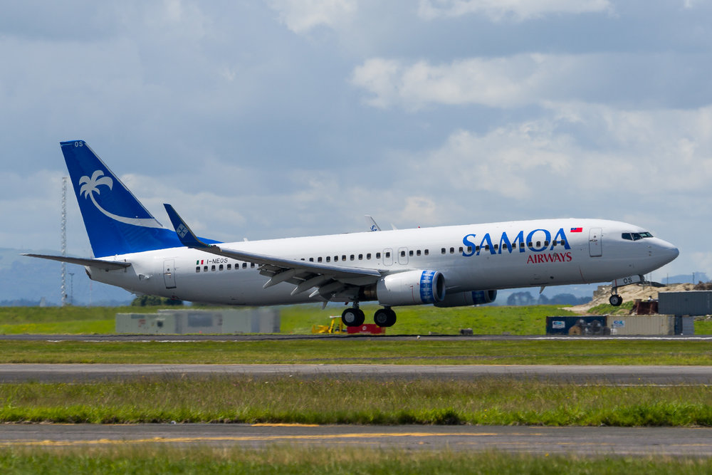 Samoa Airways Boeing 737-800 I-NEOS arriving in Auckland. 14/11/2017