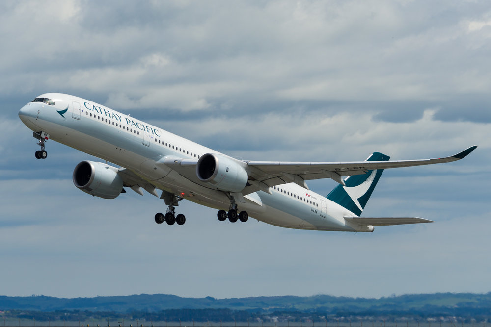 Cathay Pacific Airbus A350-900 B-LRN departing Auckland. 26/11/2017