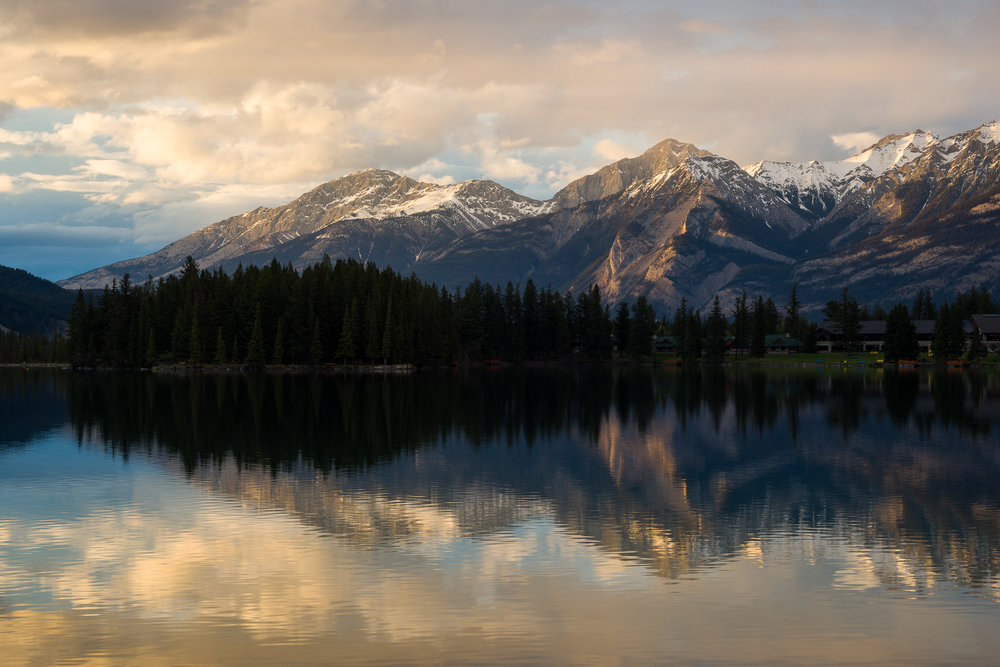 Reflections at dusk. Beauvert Lake, near Jasper AB.