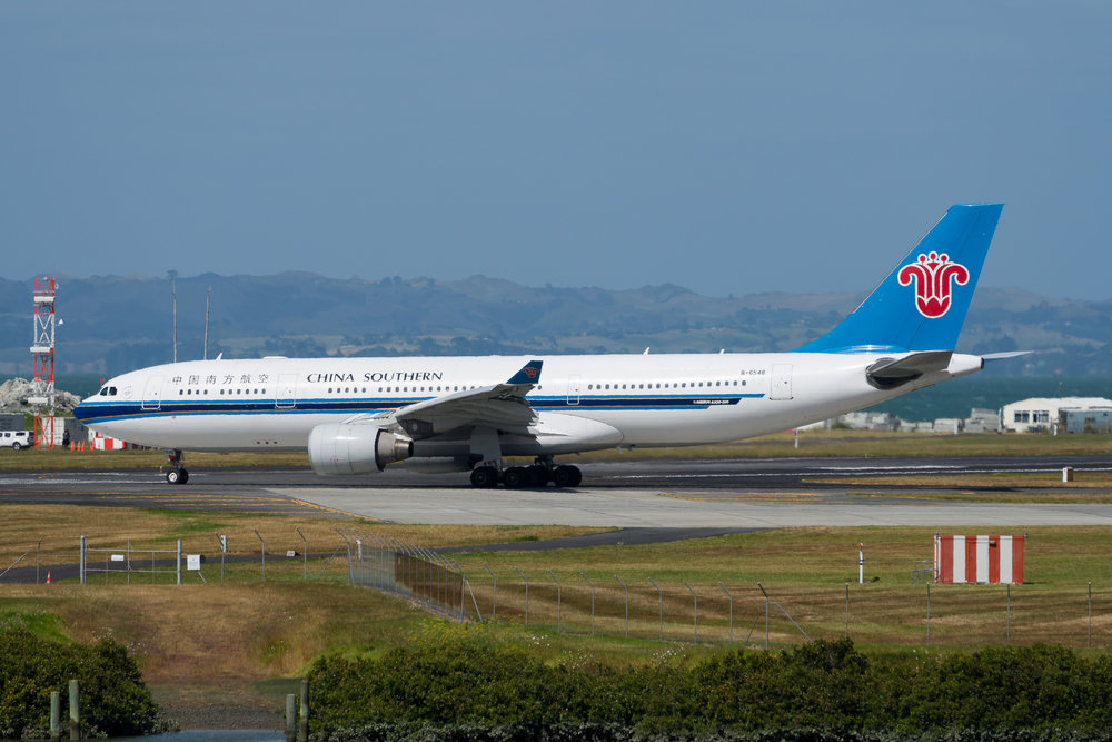 China Southern Airbus A330-200 B-6548 departing Auckland. 19/12/2017