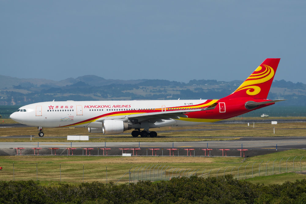 Hong Kong Airlines Airbus A330-200 B-LNG departing Auckland. 19/12/2017