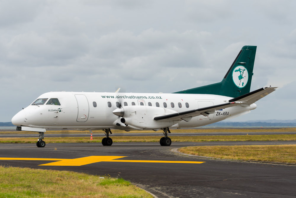 Air Chathams Saab 340 ZK-KRA departing Auckland. 26/12/2017