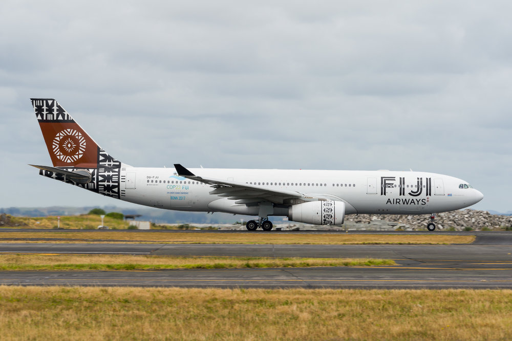 Fiji Airways Airbus A330-200 DQ-FJU departing Auckland. 26/12/2017