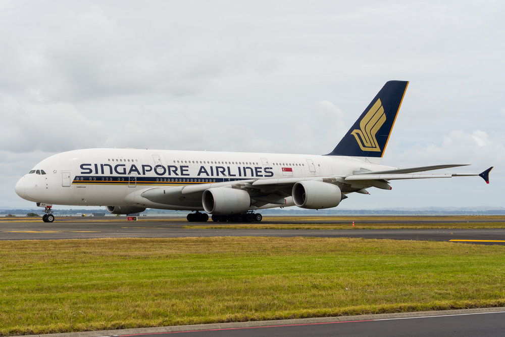 Singapore Airlines Airbus A380 9V-SKH departing Auckland. 26/12/2017
