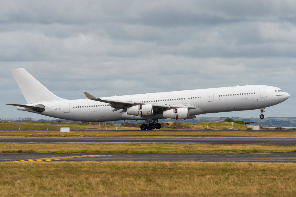 Hi Fly Airbus A340-300 9H-FOX arriving in Auckland. 26/12/2017