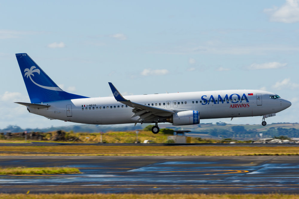 Samoa Airways Boeing 737-800 I-NEOS arriving in Auckland. 27/12/2017