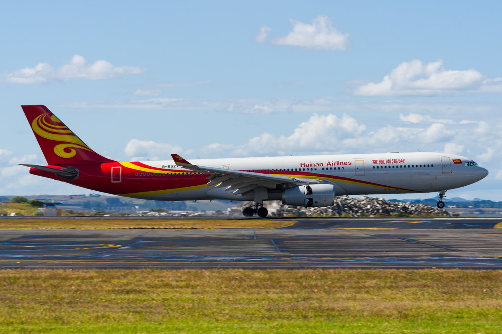 Hainan Airlines Airbus A330-300 B-6527 arriving in Auckland. 27/12/2017