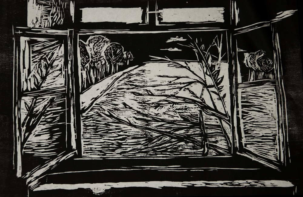 """New Beginning"" Woodcut. 2013."