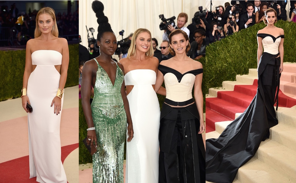 Margot Robbie, Emma Watson and Lupita Nyong'o in Calvin Klien collection for the Green Carpet Challenge
