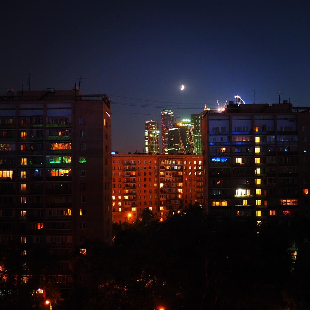 Widok na Moscow City z naszego balkonu