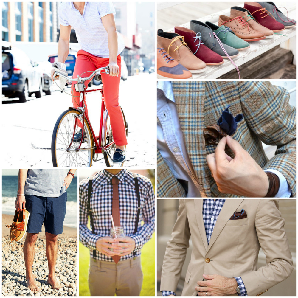 Shorts, Yacht Shoes & Chukkas, Silk Ties & Bow Ties, Pastel Colored Trousers, Light Suits & Blazers, Short-Sleeve Shirts & T-Shirts, Pocket Squares & Floral Prints.