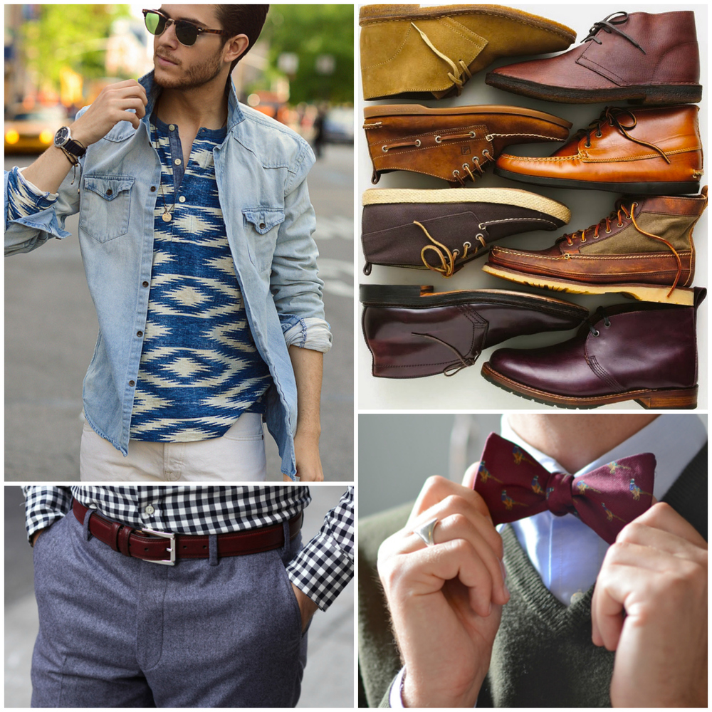 Hawaiian Print Shirts, Bow Ties, Light Trousers & Shorts, Short Sleeve Shirts, Chukkas, Loafers & Dress shoes.