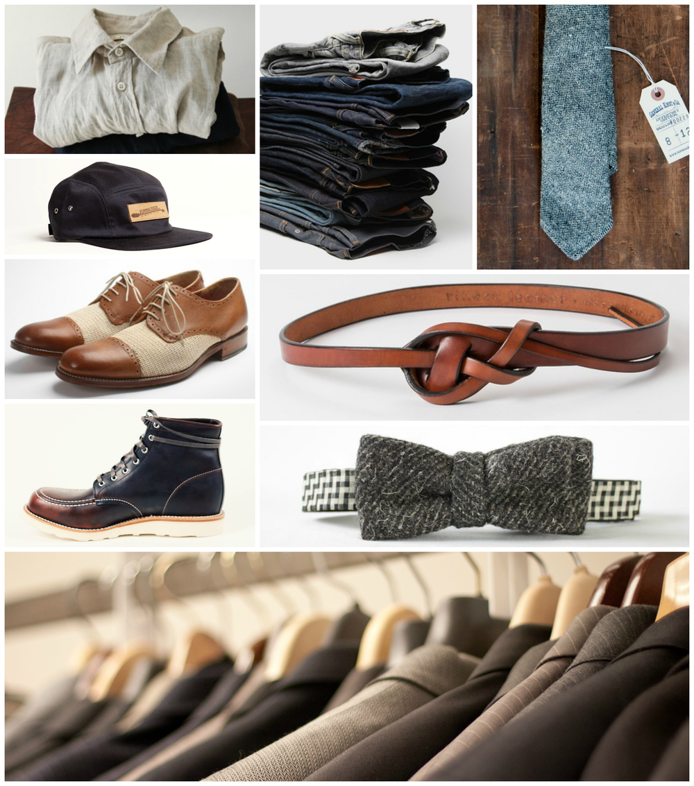 Button Up Shirts, Jeans & Trousers, Ties & Bow Ties, Belts, Dress Shoes & Boots, Hats, Blazers & Suits.