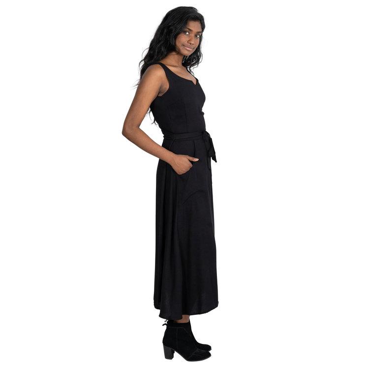 Long Wrap Dress In Black Crepe A M E L I A