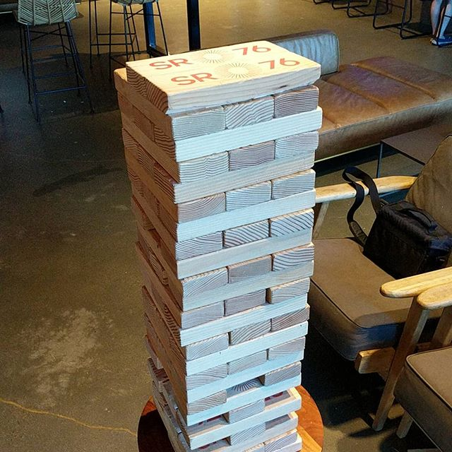 Jumbo Jenga time with @usr_err at SR 76 Beerworks.  #sr76beerworks