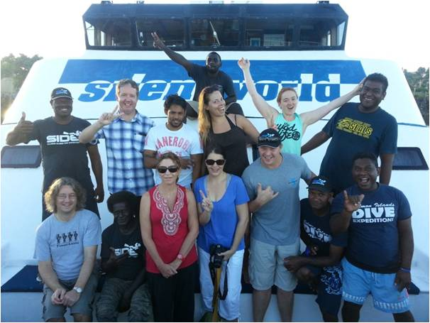 The gang on board the Solomon Star!  Happy divers, happy crew!