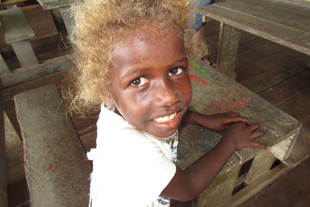 Solomon Island girl in Peava schoolhouse