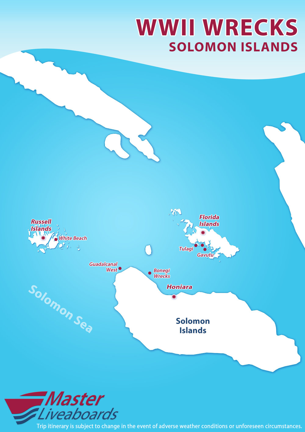 Map of Solomon Islands with itinerary for Guadalcanal to Western Province liveaboard trip on Solomons PNG Master.
