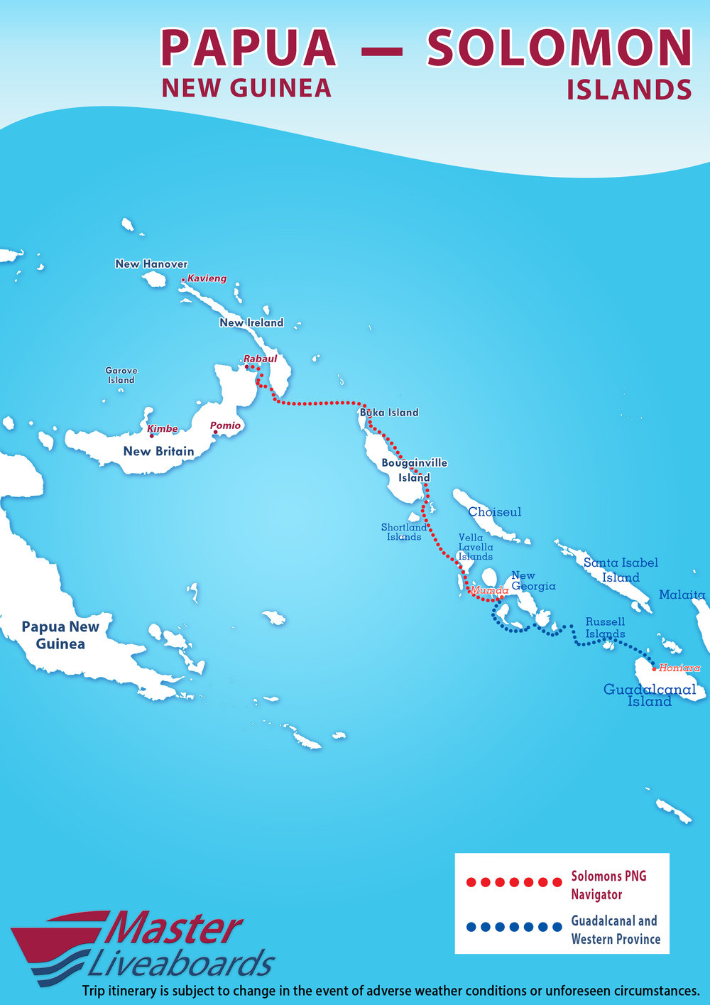 Solomons PNG Navigator itinerary