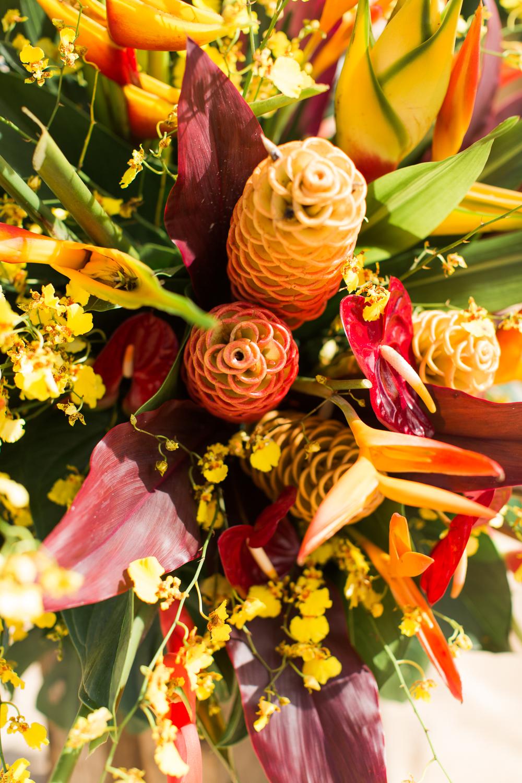Beautifully Designed Tropical Flower Arrangements for a Hawaii Elopement