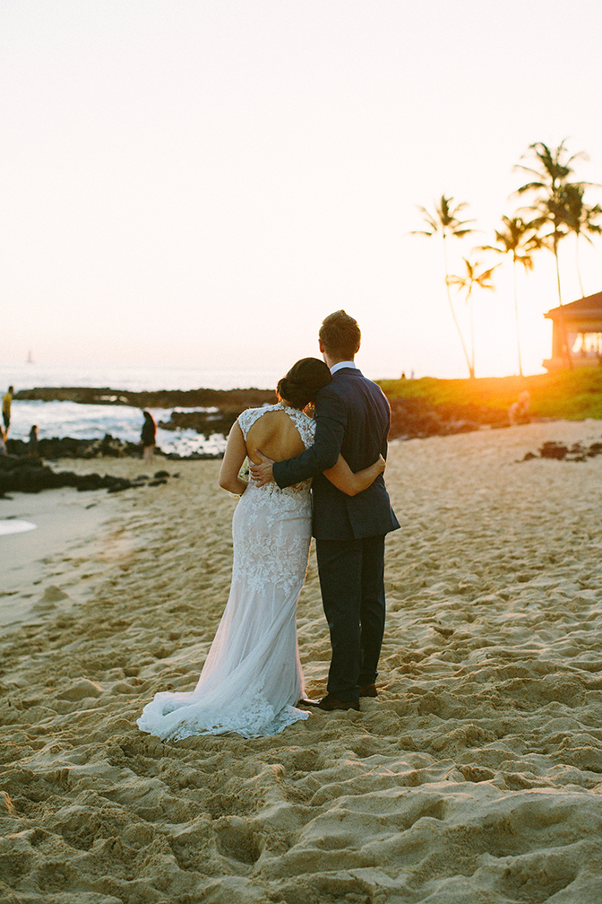 Elopement Under the Warm Light of a Hawaiian Sunset