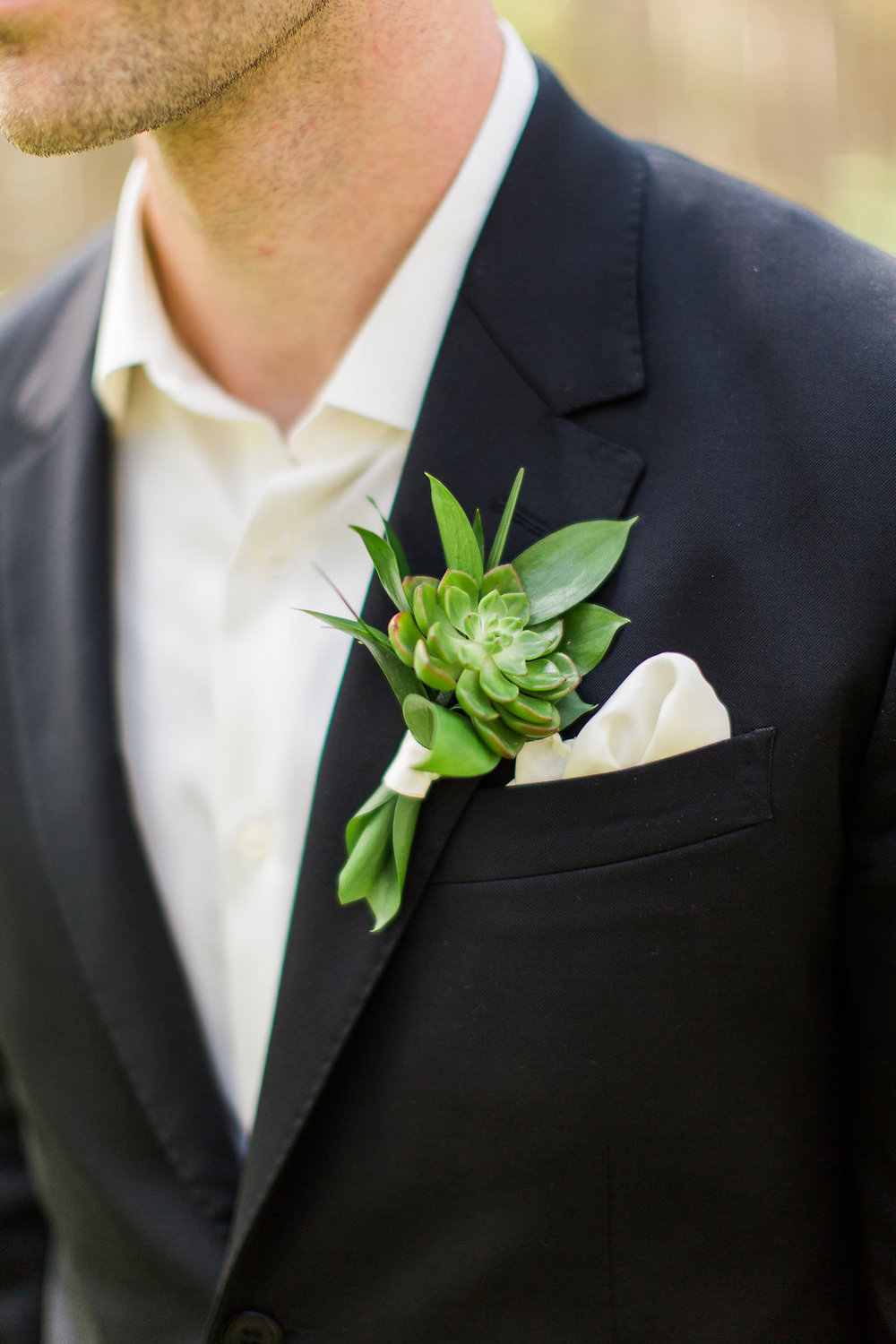 A Simple Succulent Boutonnière Looked Great on this Groom