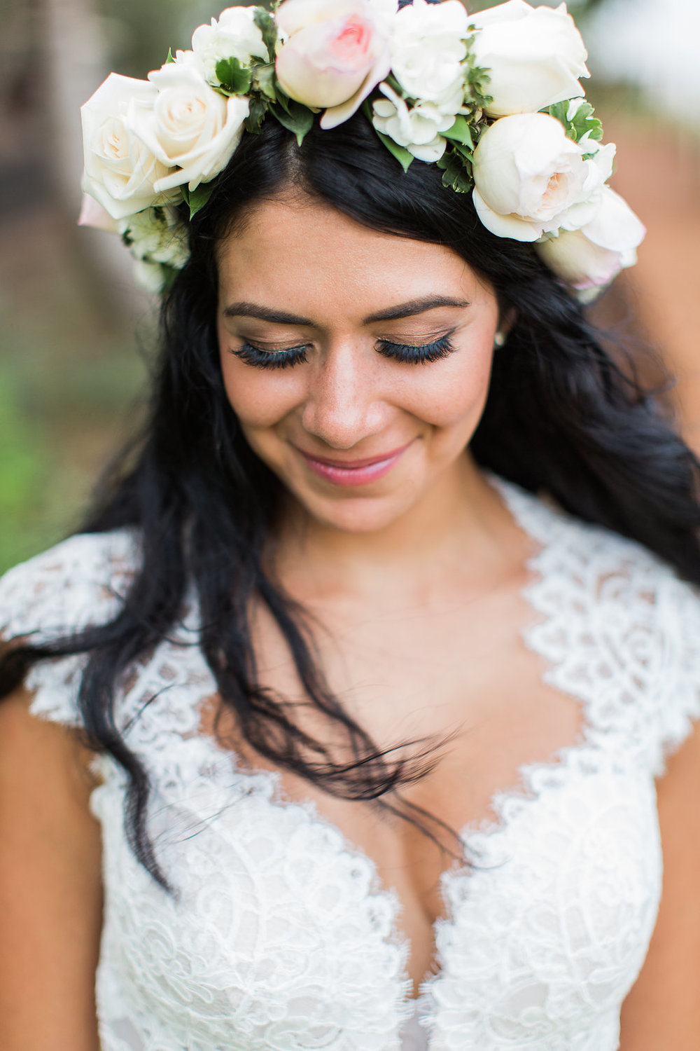 A Stunning Boho Bride Adorned with a Flower Crown