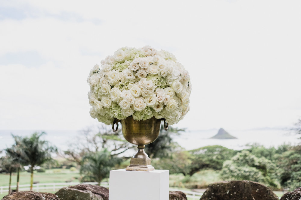 This Elopement Ceremony Decor was Romantic Arrangements of White Roses and Hydrangeas