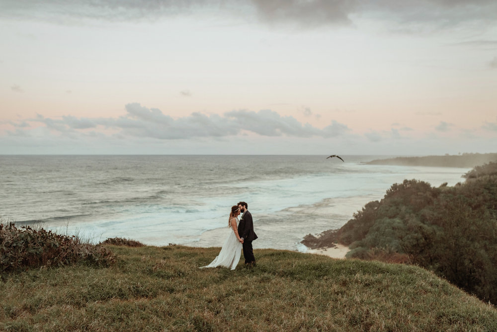An Astonishing View Overlooking the Ocean at an Elopement on Kauai