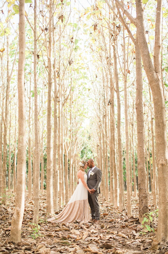 This Bride Chose a Unique Dress With Gold Detail for Her Elopement