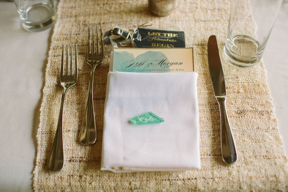 Unique Place Settings and Sea Glass Name Plates