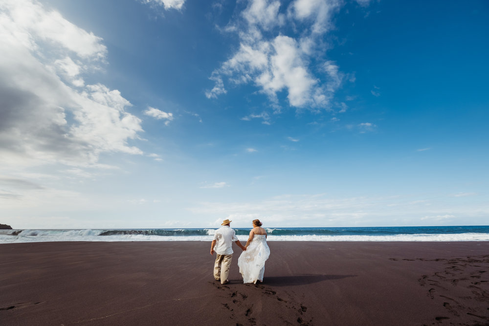 Elopement on the Black Sand Beaches of Big Island, Hawaii