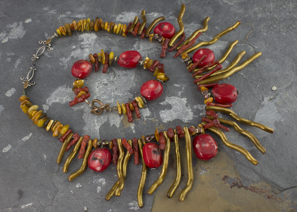 Native Coral Collar and Bracelet