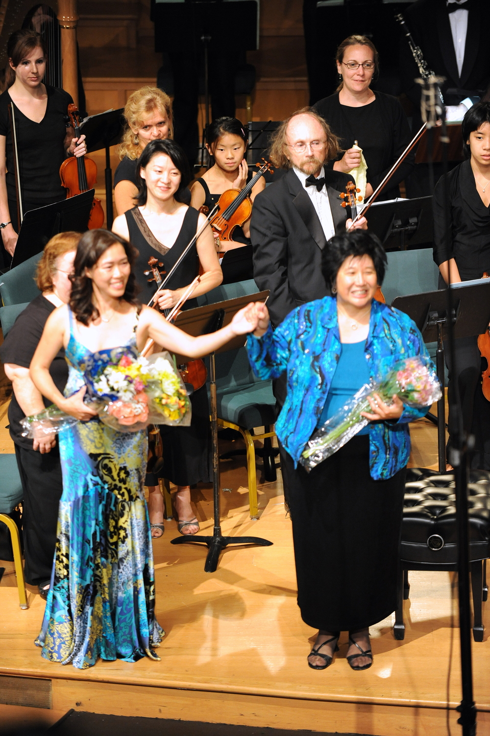 Curtain call following performance