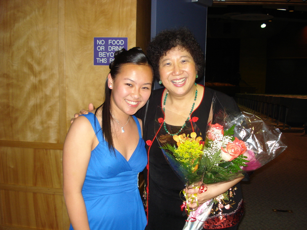 Young Clarinetist Amy Zhang with Maestra Lin after a successful performance