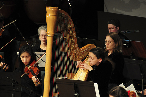 Harpist Nadia Noor hard at work