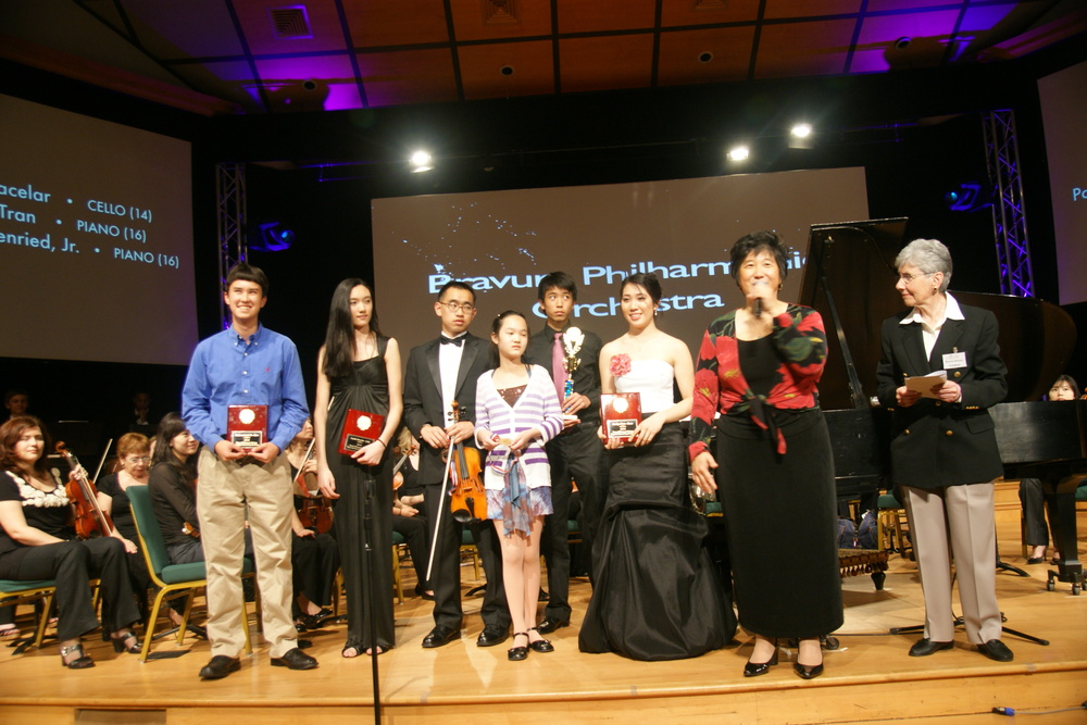Award Presentation of Winners Left to Right: Back Row: Paul von Autenried, Jr., Sophia Bacelar, Albert Wu, Kevin Lee Front Row: Angela Zhao, Katelyn Tran, Maestra Lin, and Myrna Reiter