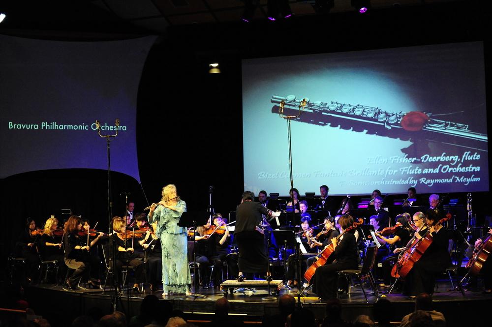 Principal flutist Ellen Deerberg performs Carmen